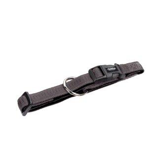 Nylon-Halsband SOFT GRIP Dunkelgrau-Schwarz S-M