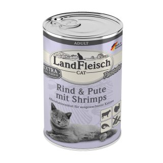 LandFleisch Cat Adult Pastete Rind & Pute & Shrimps