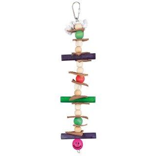 Holzspielzeug mit Leder und Perlen 28 cm