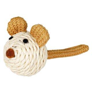 Maus mit Rassel Seil natur 5 cm