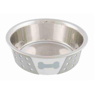 Edelstahlnapf mit Silikon weiss / grau 0,4 Liter 14 cm
